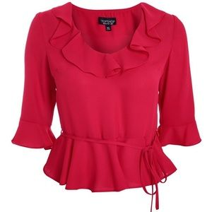 Topshop size 12 pink Phoebe blouse (missing tie)
